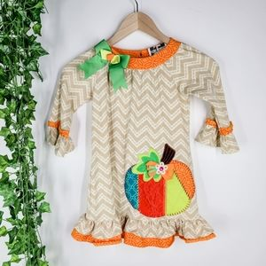 Fall Autumn Pumpkin Ruffle Girls Dress Size 6